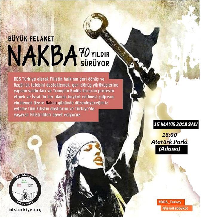 BDS Türkiye'den Nakba'nın 70. yılında Adana, Ankara ve İstanbul'da eylem