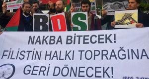 """BDS Türkiye'den İsrail Konsolosluğu önünde Nakba eylemi: """"Filistin halkı toprağına geri dönecek!"""""""